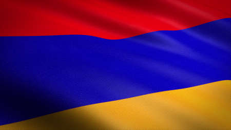 Flag of Armenia. Realistic waving flag 3D render illustration with highly detailed fabric texture Standard-Bild