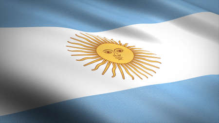 Flag of Argentina. Realistic waving flag 3D render illustration with highly detailed fabric texture
