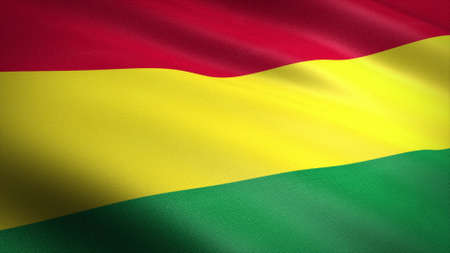 Flag of Bolivia. Realistic waving flag 3D render illustration with highly detailed fabric texture