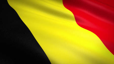 Flag of Belgium. Realistic waving flag 3D render illustration with highly detailed fabric texture