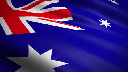 Flag of Australia. Realistic waving flag 3D render illustration with highly detailed fabric texture