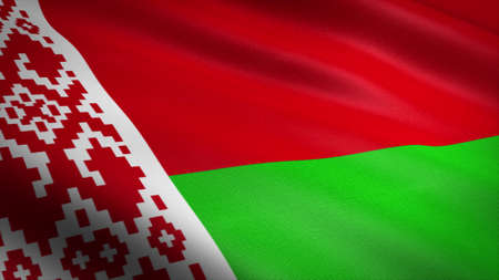 Flag of Belarus. Realistic waving flag 3D render illustration with highly detailed fabric texture