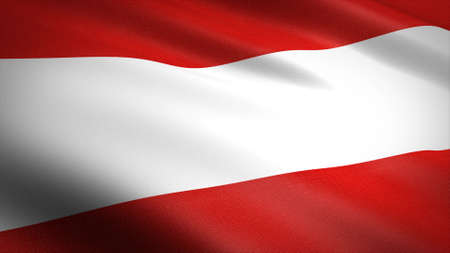 Flag of Austria. Realistic waving flag 3D render illustration with highly detailed fabric texture Standard-Bild
