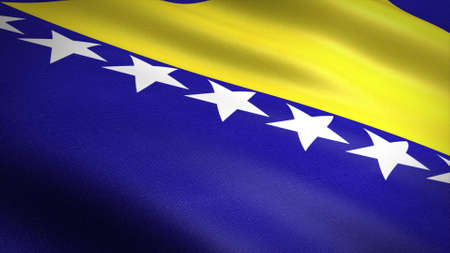 Flag of Bosnia and Herzegovina. Realistic waving flag 3D render illustration with highly detailed fabric texture