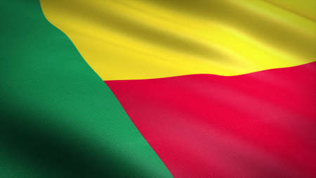 Flag of Benin. Realistic waving flag 3D render illustration with highly detailed fabric texture