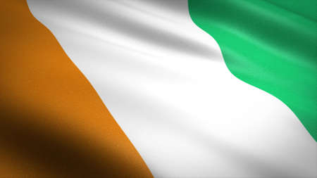 Flag of the Cote dIvoire. Realistic waving flag 3D render illustration with highly detailed fabric texture