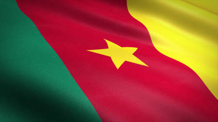Flag of Cameroon. Realistic waving flag 3D render illustration with highly detailed fabric texture