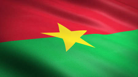 Flag of Burkina Faso. Realistic waving flag 3D render illustration with highly detailed fabric texture