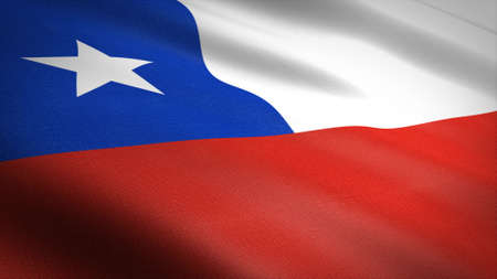 Flag of the Chile. Realistic waving flag 3D render illustration with highly detailed fabric texture