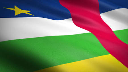 Flag of the Central African Republic. Realistic waving flag 3D render illustration with highly detailed fabric texture. Standard-Bild