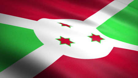 Flag of Republic of Burundi. Realistic waving flag 3D render illustration with highly detailed fabric texture. Standard-Bild