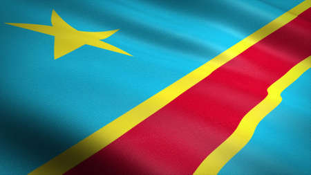 Flag of the Congo. Realistic waving flag 3D render illustration with highly detailed fabric texture. Standard-Bild