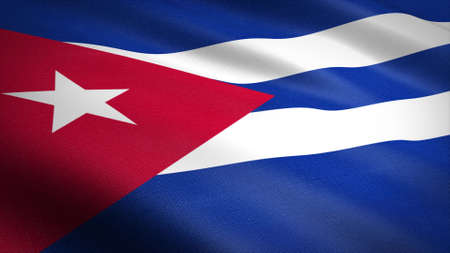Flag of the Cuba. Realistic waving flag 3D render illustration with highly detailed fabric texture