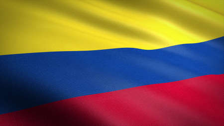 Flag of the Republic of Colombia. Realistic waving flag 3D render illustration with highly detailed fabric texture