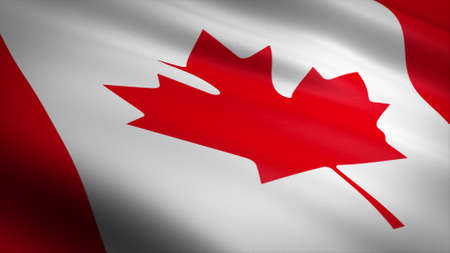 Flag of Canada. Realistic waving flag 3D render illustration with highly detailed fabric texture