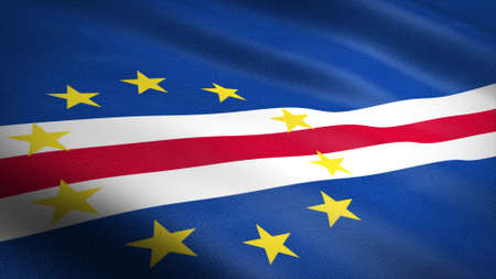 Flag of the Republic of Cape Verde. Realistic waving flag 3D render illustration with highly detailed fabric texture Standard-Bild