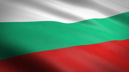 Flag of Bulgaria. Realistic waving flag 3D render illustration with highly detailed fabric texture Standard-Bild