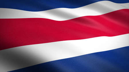 Flag of the Costa Rica. Realistic waving flag 3D render illustration with highly detailed fabric texture