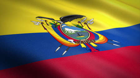 Flag of Ecuador. Realistic waving flag 3D render illustration with highly detailed fabric texture. Standard-Bild