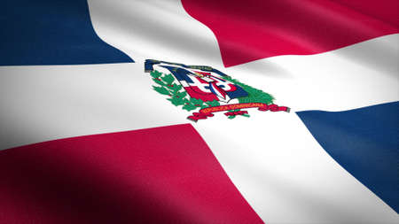 Flag of The Dominican Republic. Realistic waving flag 3D render illustration with highly detailed fabric texture. Standard-Bild
