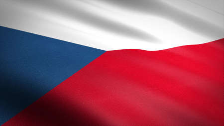 Flag of the Czech Republic. Realistic waving flag 3D render illustration with highly detailed fabric texture.