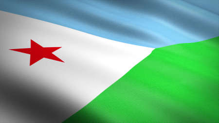 Flag of Djibouti. Realistic waving flag 3D render illustration with highly detailed fabric texture. Standard-Bild