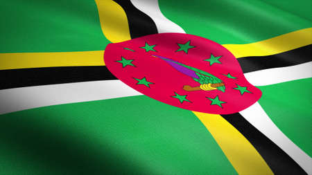 Flag of Dominica. Realistic waving flag 3D render illustration with highly detailed fabric texture.