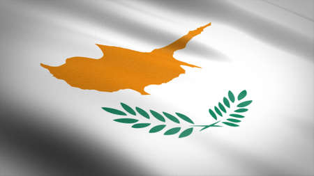 Flag of Cyprus. Realistic waving flag 3D render illustration with highly detailed fabric texture Standard-Bild