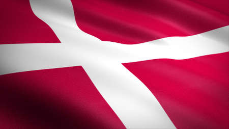 Flag of Denmark. Realistic waving flag 3D render illustration with highly detailed fabric texture
