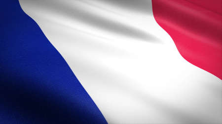 Flag of France. Realistic waving flag 3D render illustration with highly detailed fabric texture.