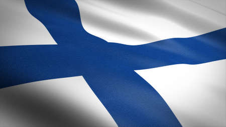 Flag of Finland. Realistic waving flag 3D render illustration with highly detailed fabric texture Standard-Bild