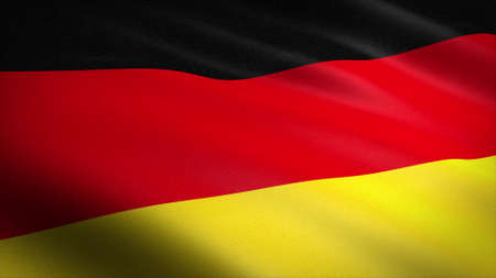 Flag of Germany. Realistic waving flag 3D render illustration with highly detailed fabric texture.