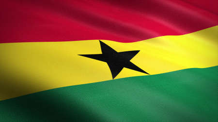 Flag of Ghana. Realistic waving flag 3D render illustration with highly detailed fabric texture.