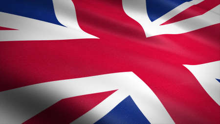 Flag of Britain. Realistic waving flag 3D render illustration with highly detailed fabric texture.