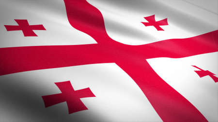 Flag of Georgia. Realistic waving flag 3D render illustration with highly detailed fabric texture. Standard-Bild