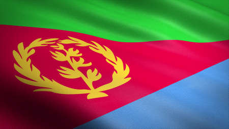 Flag of Eritrea. Realistic waving flag 3D render illustration with highly detailed fabric texture. Standard-Bild