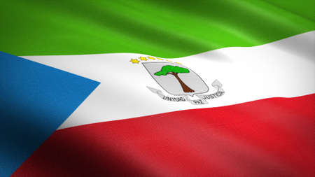 Flag of Equatorial Guinea. Realistic waving flag 3D render illustration with highly detailed fabric texture.