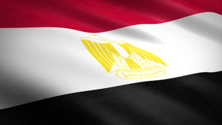Flag of Egypt. Realistic waving flag 3D render illustration with highly detailed fabric texture.