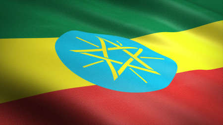 Flag of Ethiopia. Realistic waving flag 3D render illustration with highly detailed fabric texture.