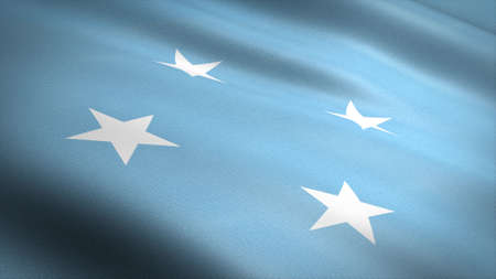 Flag of Micronesia. Realistic waving flag 3D render illustration with highly detailed fabric texture.