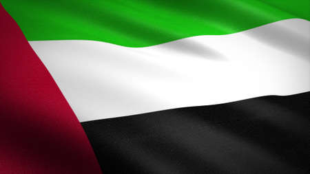 Flag of The United Arab Emirates. Realistic waving flag 3D render illustration with highly detailed fabric texture.