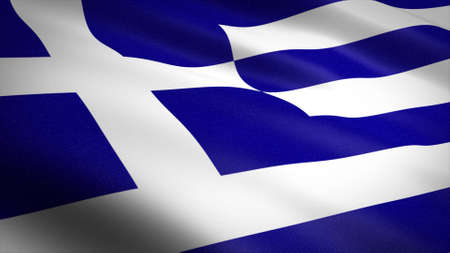 Flag of Greece. Realistic waving flag 3D render illustration with highly detailed fabric texture. Standard-Bild