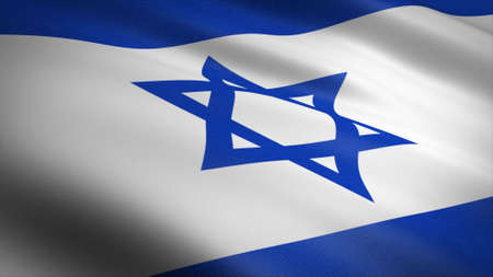 Flag of Israel. Realistic waving flag 3D render illustration with highly detailed fabric texture