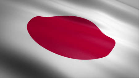 Flag of Japan. Realistic waving flag 3D render illustration with highly detailed fabric texture. Standard-Bild