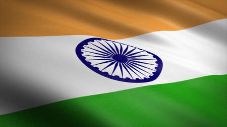 Flag of India. Realistic waving flag 3D render illustration with highly detailed fabric texture. Standard-Bild