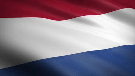 Flag of Netherlands. Realistic waving flag 3D render illustration with highly detailed fabric texture Standard-Bild