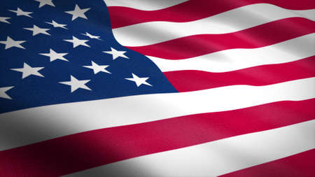 Flag of The United States of America. Realistic waving flag 3D render illustration with highly detailed fabric texture.