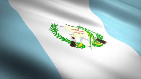 Flag of Guatemala. Realistic waving flag 3D render illustration with highly detailed fabric texture.