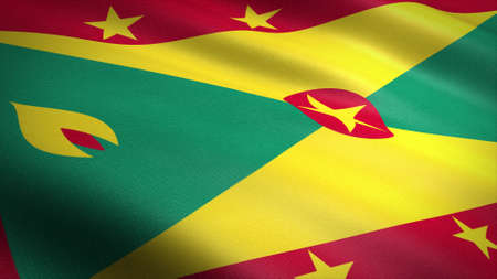 Flag of Grenada. Realistic waving flag 3D render illustration with highly detailed fabric texture