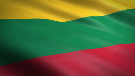 Flag of Lithuania. Realistic waving flag 3D render illustration with highly detailed fabric texture.